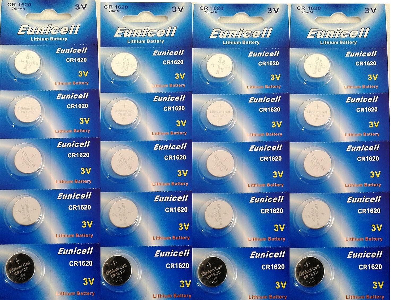 20 piles boutons CR1620 5009LC, BR1620, ECR1620, KCR1620, DL1620, LM1620, piles Lithium PK Green