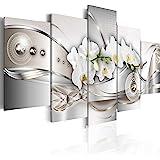 Quadro 200x100 cm ! Tre colori da scegliere - 5 Parti - Grande Formato - Quadro su tela fliselina - Stampa in qualita fotografica - fiori orchidea astrazione b-A-0073-b-n 200x100 cm B&D XXL