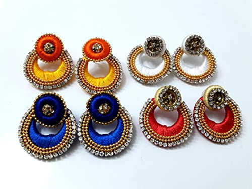 8c7fd9891 Buy Combo of 4 pairs designer Silk Thread Chandbali Earrings by Khushi  Handicrafts Online at Low Prices in India   Amazon Jewellery Store -  Amazon.in