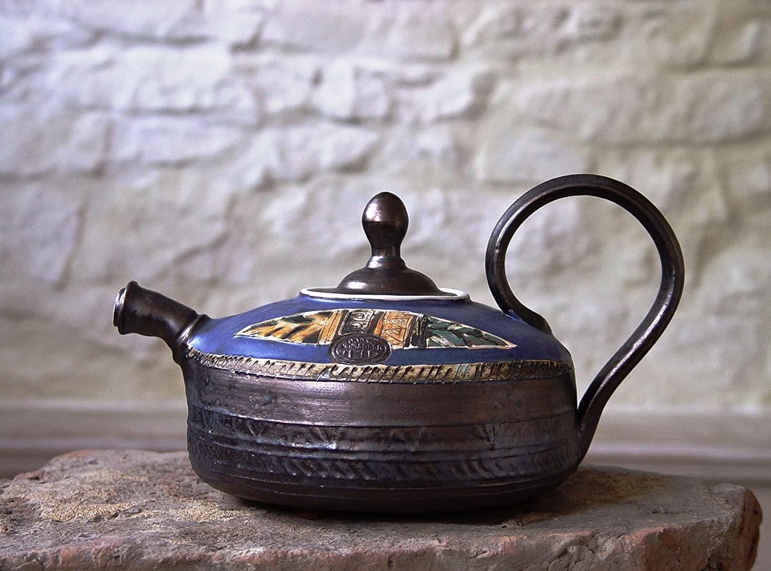 Pottery Teapot. Ceramic Tea Pot. Handmade and Hand Painted Clay Teapot, Danko Pottery, Artisan Pottery, Wheel Thrown Pottery