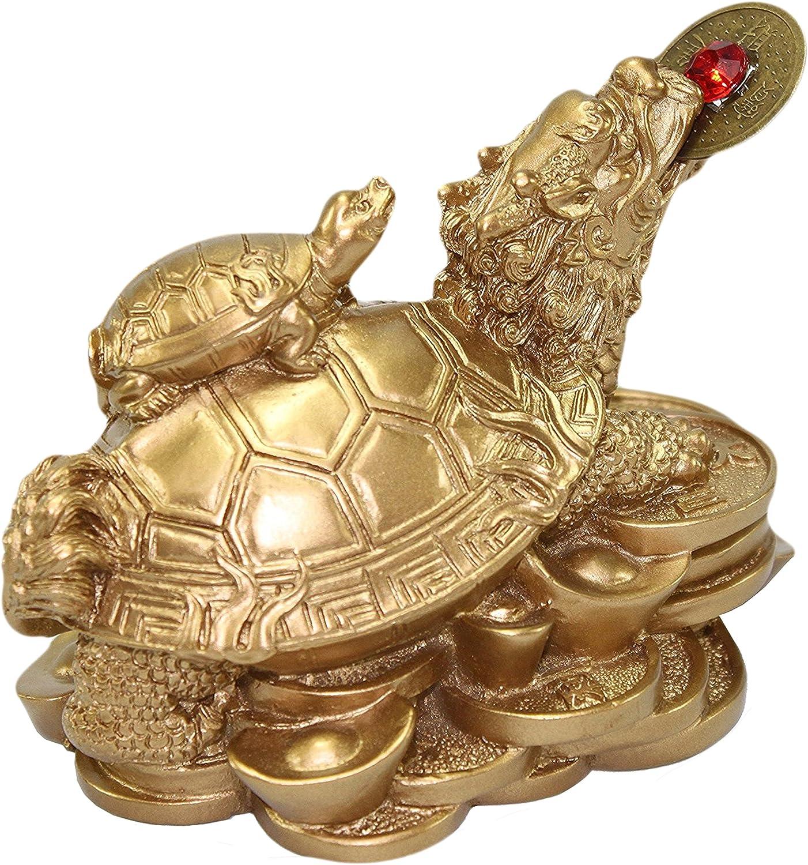 Feng Shui Golden Money Turtle Lucky Home Office Decoration Tabletop Ornam xYRDE