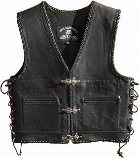 """Bad Company Leatherwear /""""Kai/"""" Clubweste aus Glattleder in Schwarz mit Passbeltaschen f/ür Motorradfahrer und Biker Gr. 50"""