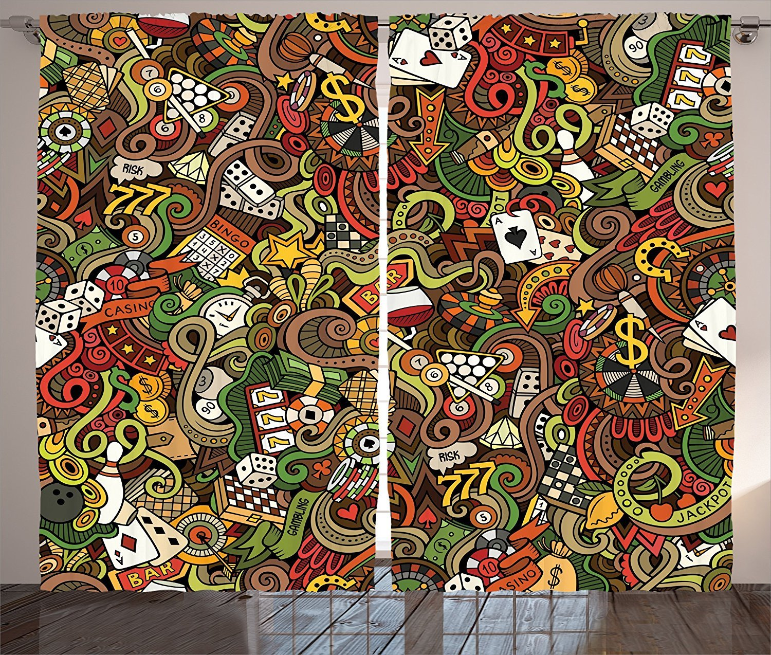 Casino Decorations Curtains Doodles Style Art Bingo Excitement Checkers King Tambourine Vegas Living Room Bedroom Decor 2 Panel Set by sophiehome
