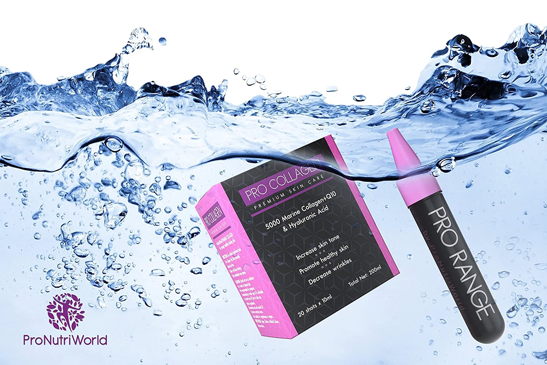 Colágeno marino Ácido hialurónico | Q10 | Bebida de colágeno por ProNutriWorld | Anti envejecimiento | Suplemento orgánico para el cuidado de la piel para ...