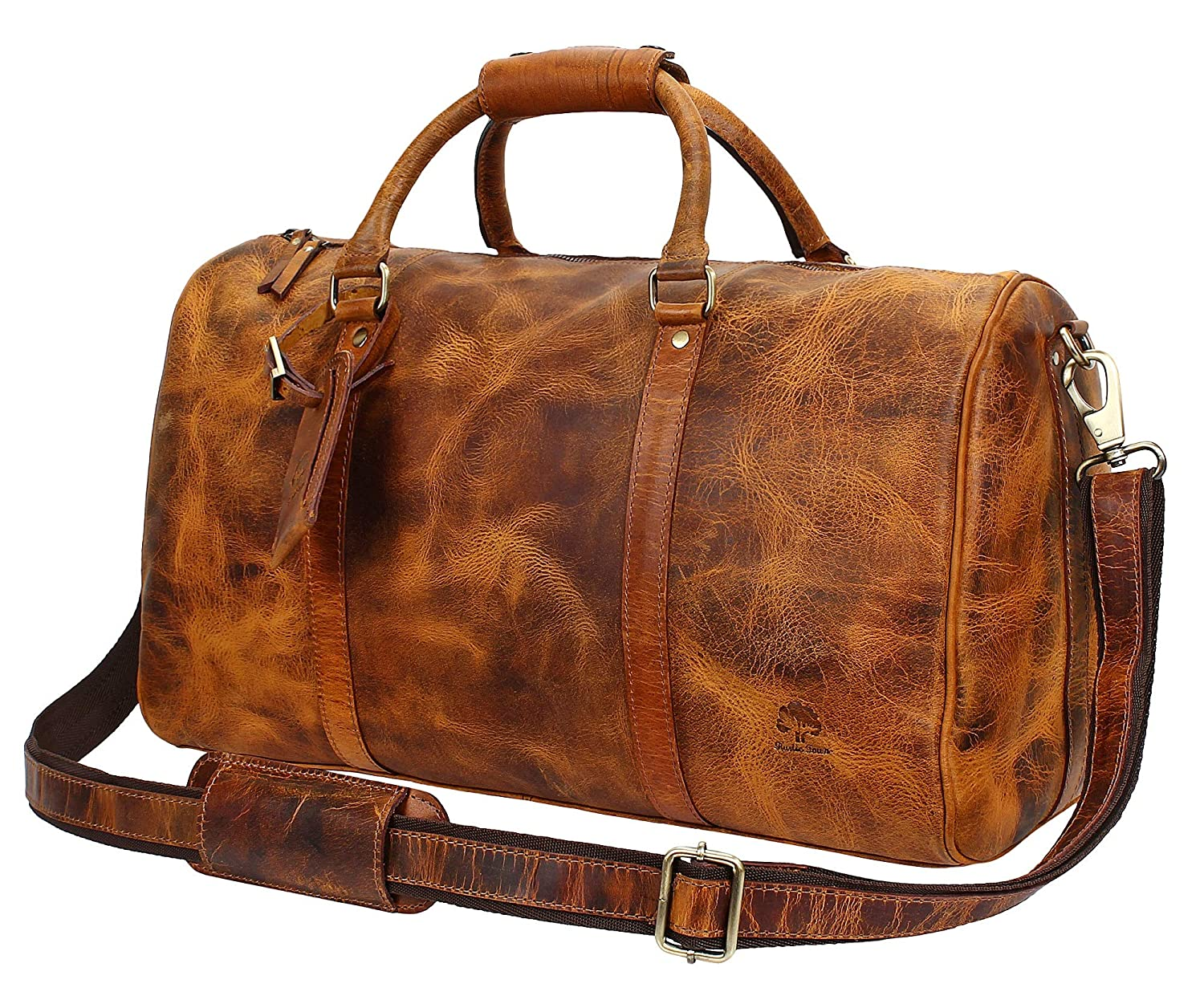 3b64d78cd Leather Duffel Bags for Men - Airplane Underseat Carry On Luggage by  RusticTown: Amazon.co.uk: Luggage