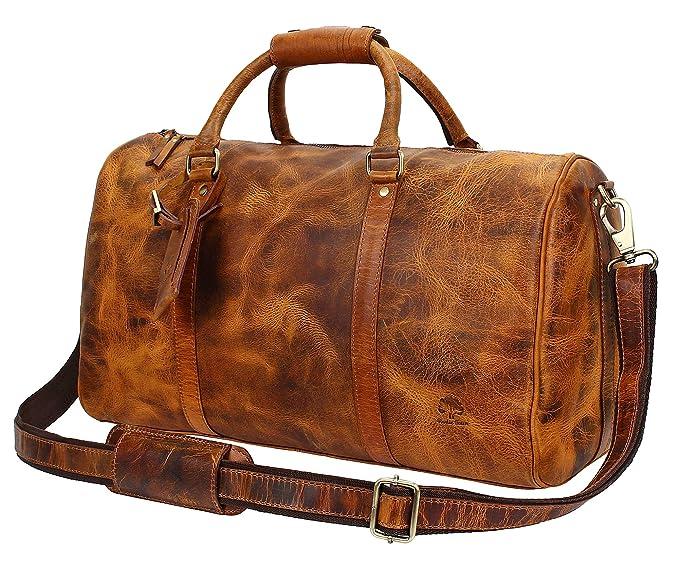 Rustic Town de primera calidad hecha a mano Bolso de cuero Bolsa de viaje de cuero Bolsa de cabina Vintage y estilo antiguo Para viajes y deportes Amplio y ...