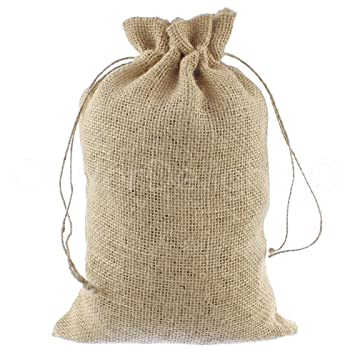 CleverDelights 8quot X 12quot Burlap Bags With Natural Jute Drawstring