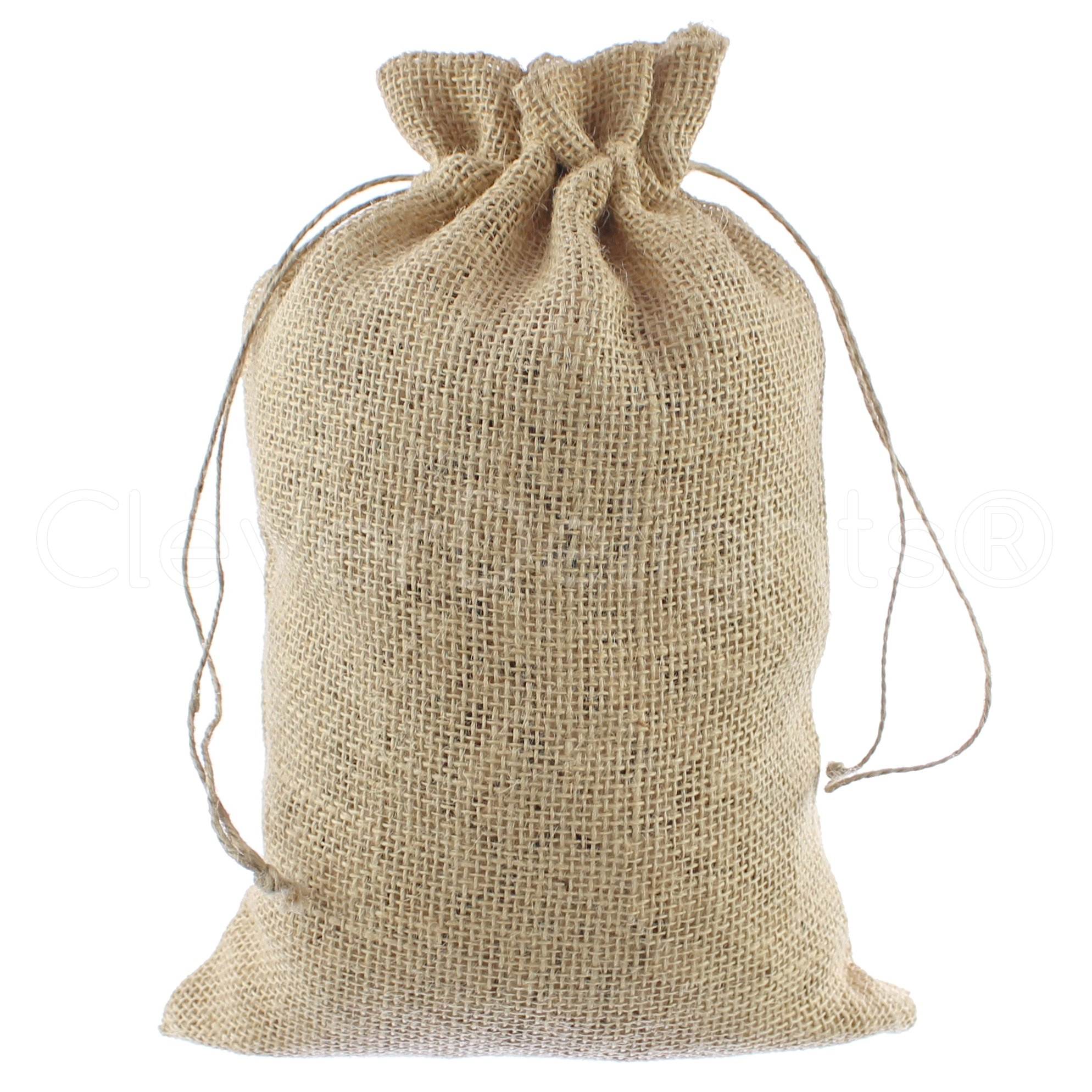 CleverDelights 8'' x 12'' Burlap Bags with Natural Jute Drawstring - 50 Pack - Burlap Pouch Sack Favor Bag for Showers Weddings Parties and Receptions - 8x12 inch