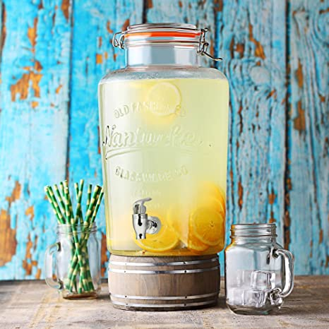 bar@drinkstuff - Dispensador de Bebidas de 8 litros, Estilo Vintage Kilner, dispensador