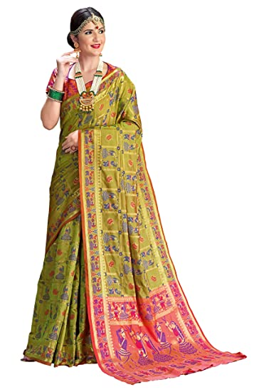 d7e1c6de455d5d EthnicJunction Double Ikat Vibrant Patola Woven Silk Saree With Blouse  Piece (EJ2400-1006) Olive Green: Amazon.in: Clothing & Accessories