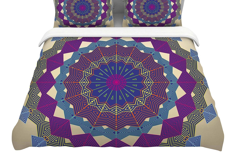 88 x 88, Purple Kess InHouse Angelo Carantola Composition Featherweight Queen Duvet Cover