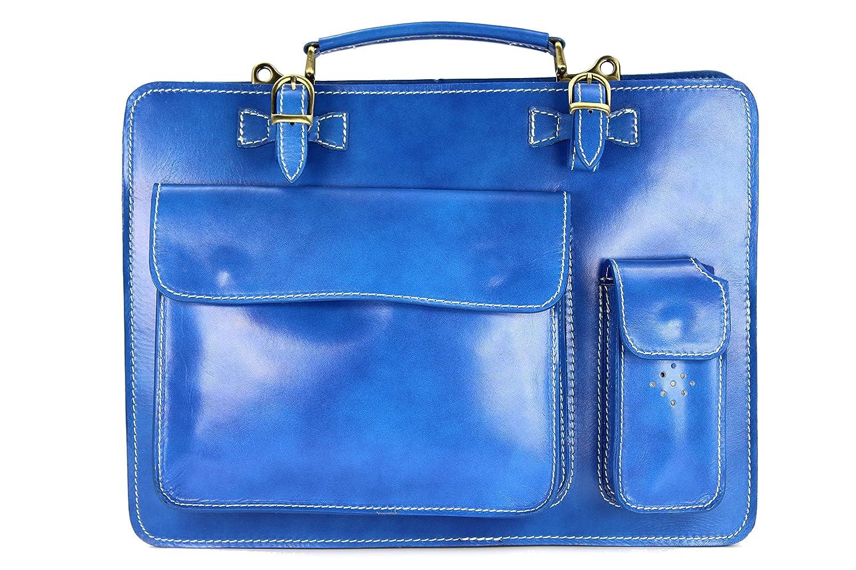 Belli Design Bag Verona ital. Leder Businesstasche Arbeitstasche Messenger Aktentasche Lehrertasche Laptoptasche unisex - Farbauswahl - 39x29x11 cm (B x H x T) 387.4