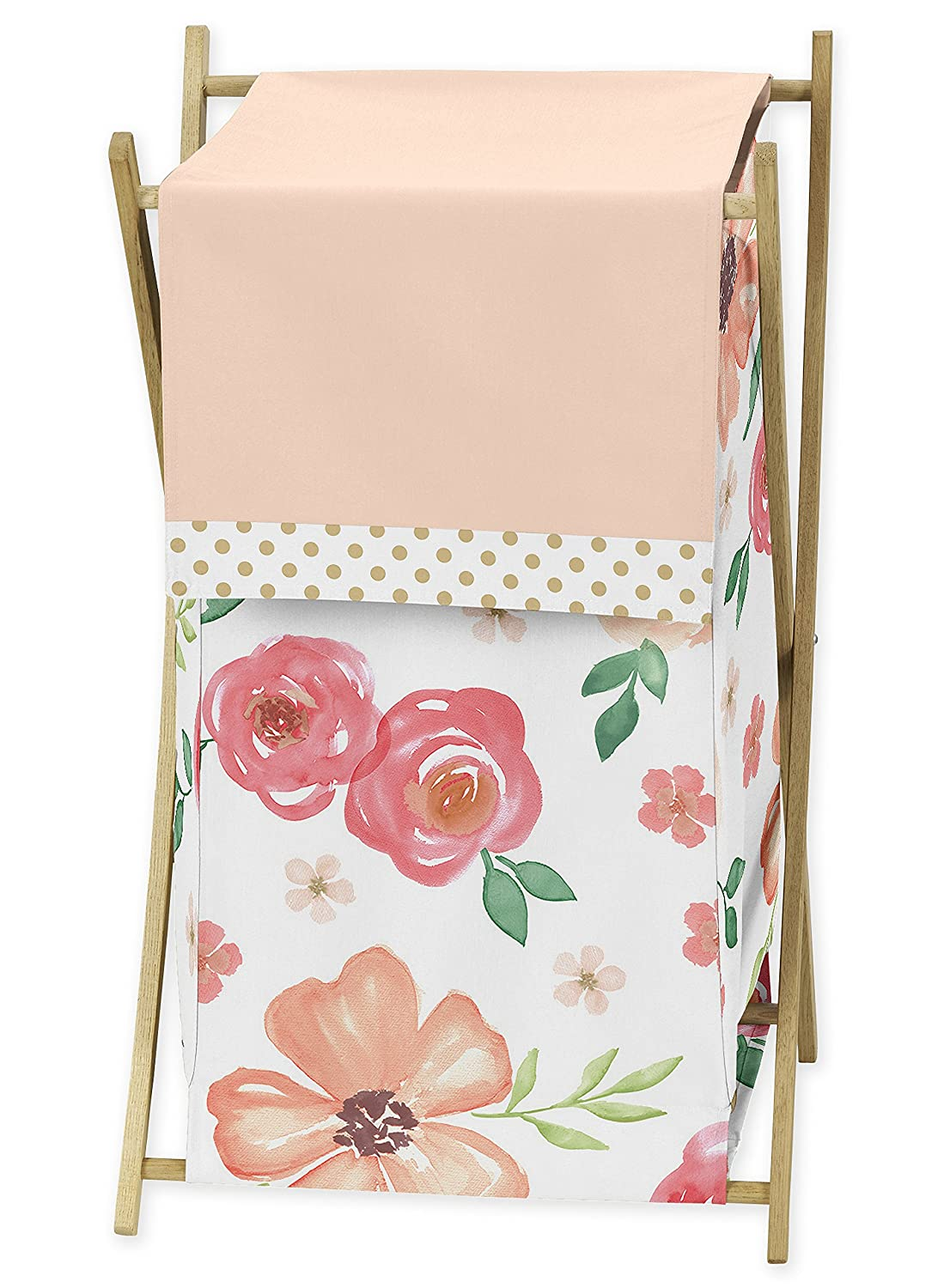 Sweet Jojo Designs Peach, Green and Gold Baby Kid Clothes Laundry Hamper for Watercolor Floral Collection – Pink Rose Flower