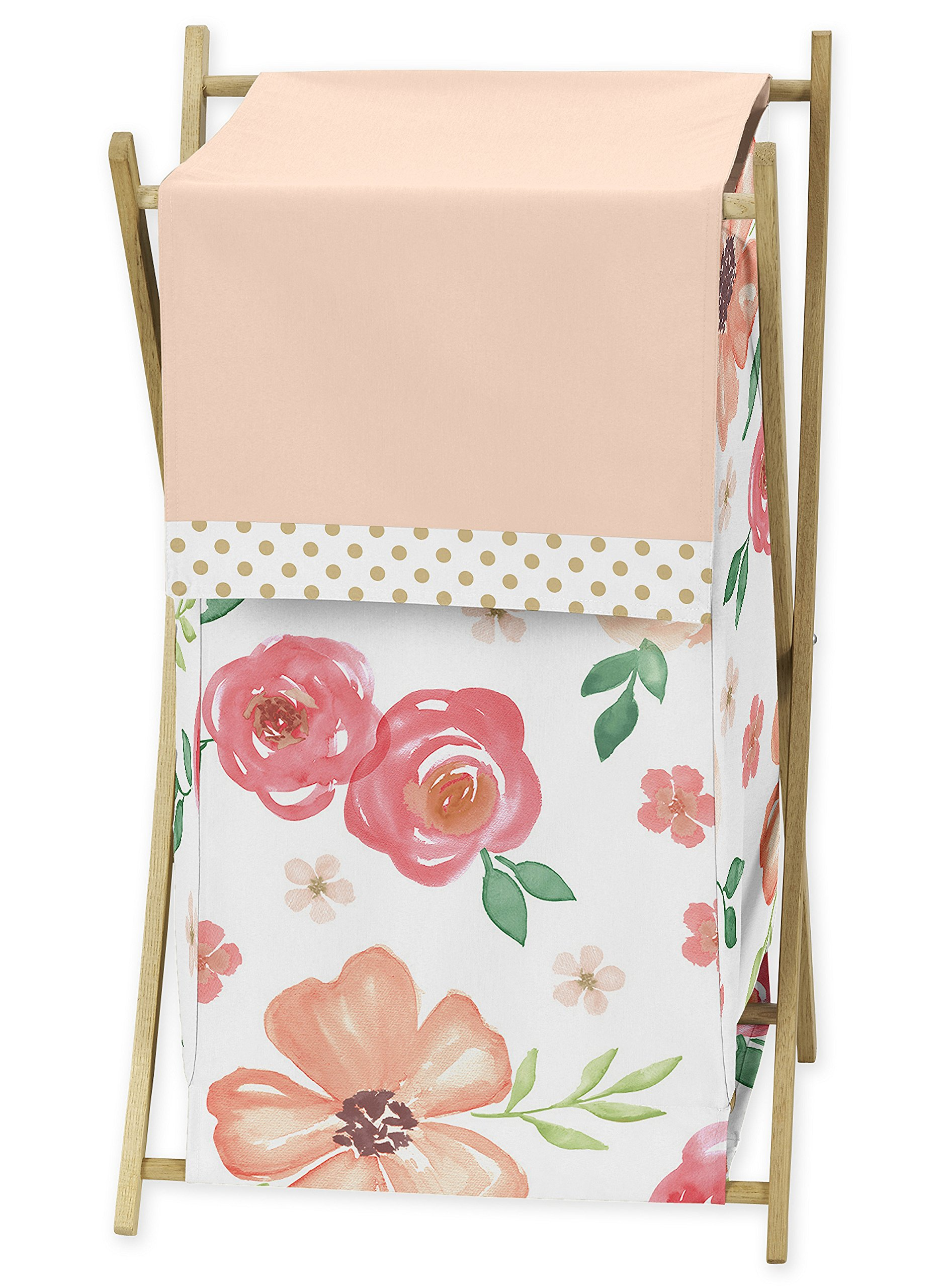 Sweet JoJo Designs Peach, Green and Gold Baby Kid Clothes Laundry Hamper for Watercolor Floral Collection - Pink Rose Flower