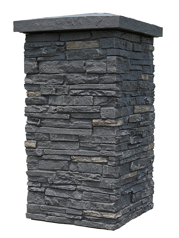 Nextstone Slatestone 16 x 16 x 30 Faux poliuretano pietra colonna Wrap – Midnight Ash by Nextstone