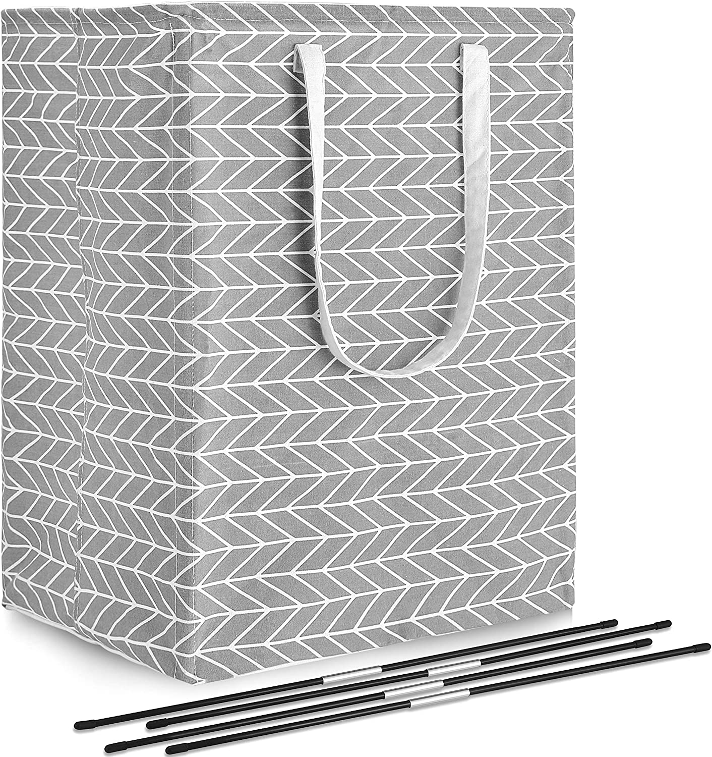 Clothes 96L Collapsible Laundry Basket with Handle 4 Detachable Rods and 1 Removable Liner Waterproof Cotton Linen Foldable Bathroom Storage Basket for Toys Extra Large Laundry Hamper