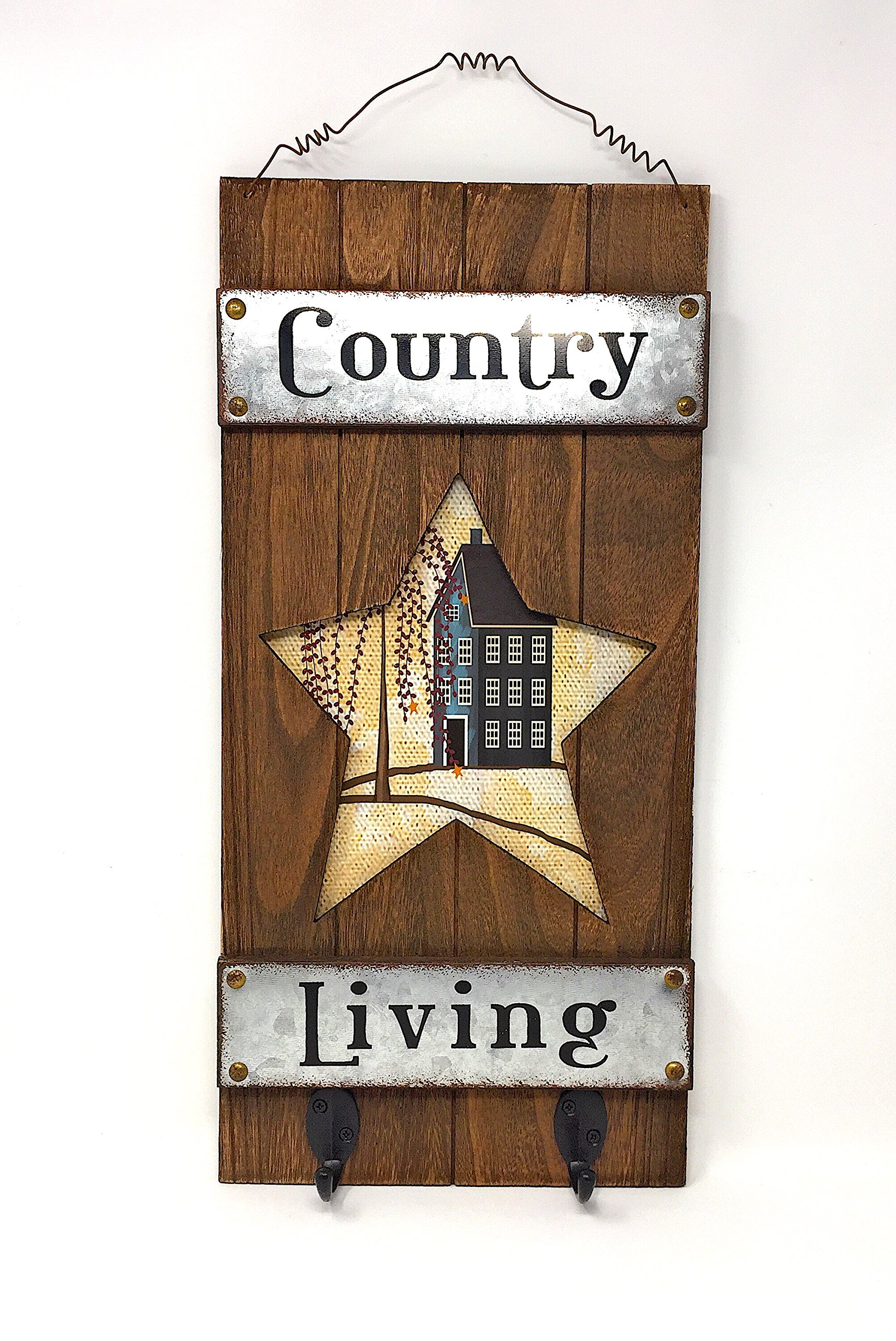 Country Farmhouse Style Wood & Metal Key Hook Holder Inspirational Rustic Wall Decor (Star)