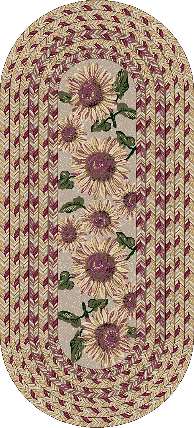 Brumlow Mills Sunflower Braid Kitchen Rug, 20-Inch by 44-Inch, Sunset