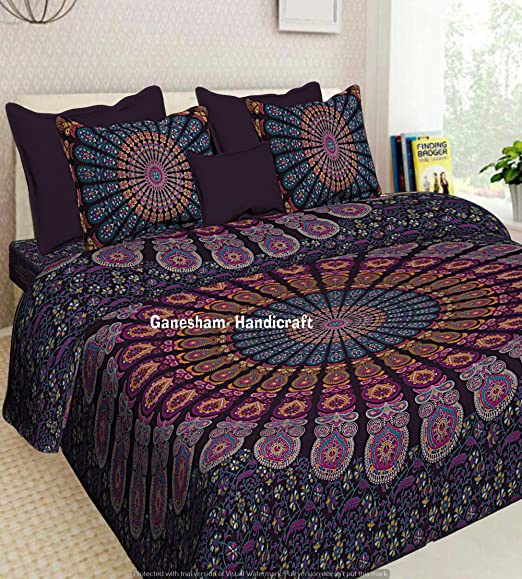 Indian Ethnic Mandala Gypsy Boho Bedding Set Bed Sheet Bedspread Tapestry Throw