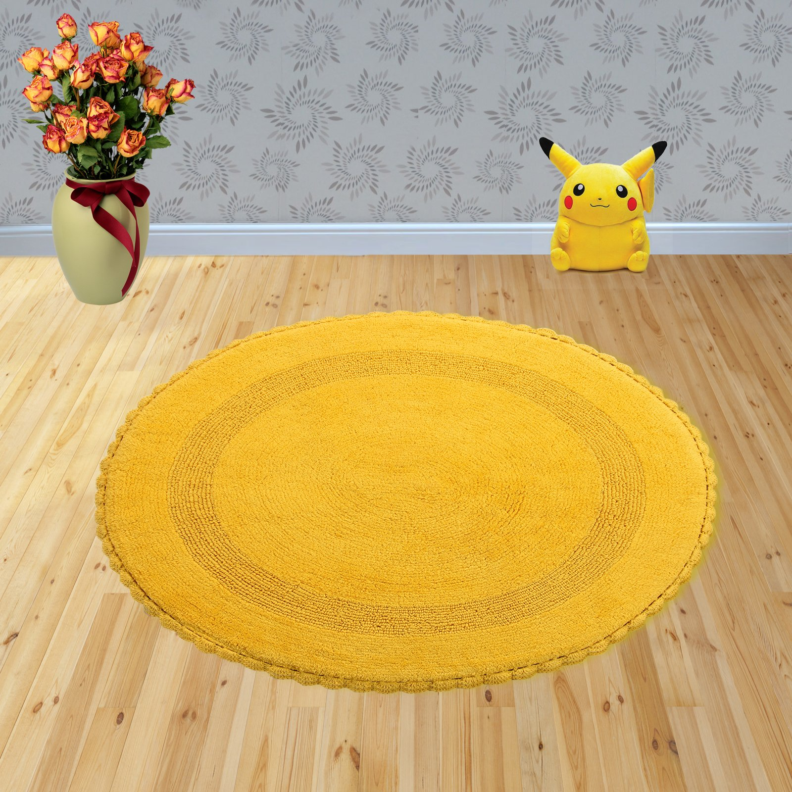 Saffron Fabs Bath Rug 100% Soft Cotton 36 Inch Round, Reversible-Different Pattern On Both Sides, Solid Yellow Color, Hand Knitted Crochet Lace Border, Hand Tufted, 200 GSF Weight, Machine Washable
