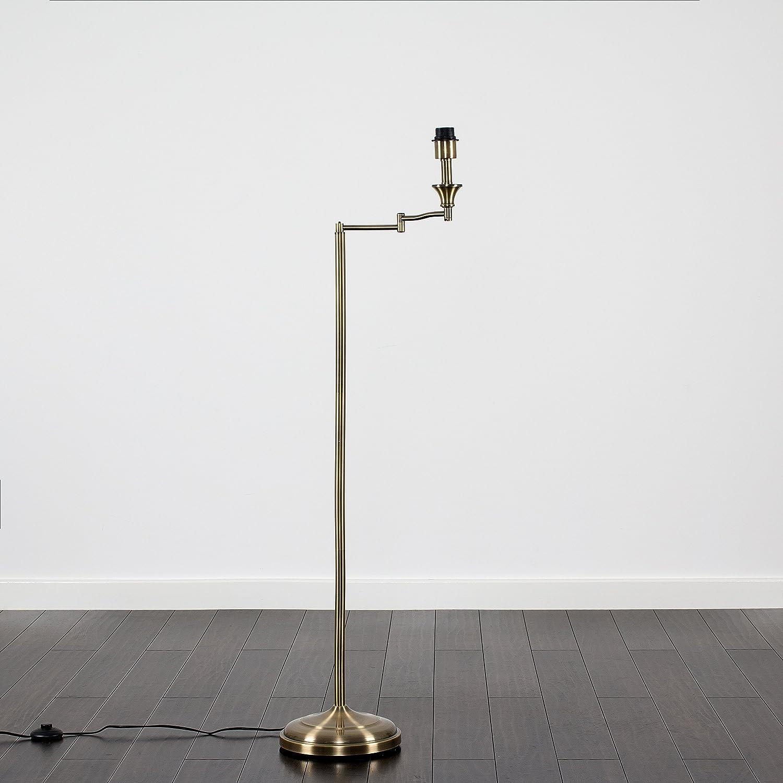 Modern Adjustable Swing Arm Floor Lamp Base in an Antique Brass Finish