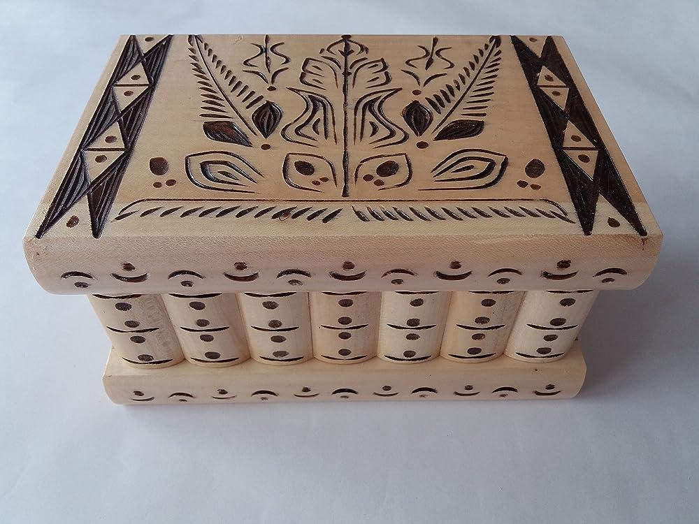 Caja puzzle nuevo grande natural con talla marrón caja de joyas ...