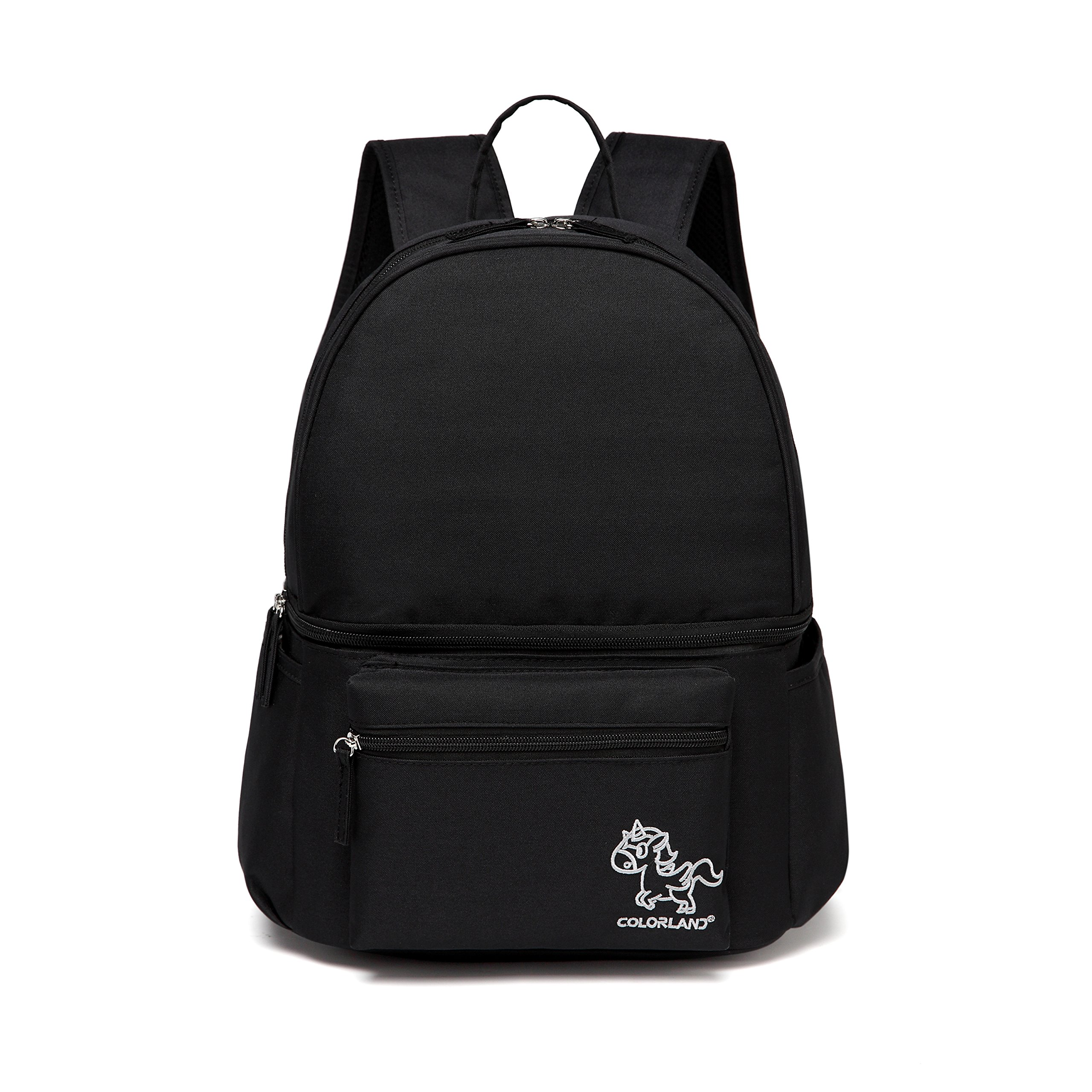 Colorland Lacey Downtown Lunch Backpack Storage with Cooler Compartment for Breast Pump Milk (Black)
