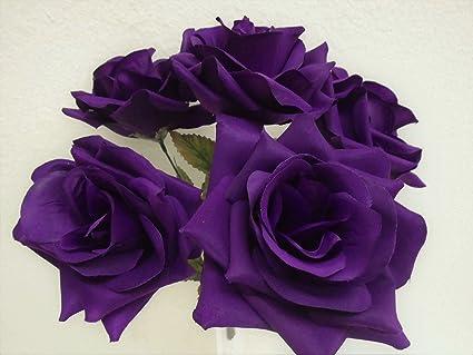 Amazon phoenix silk 2 bushes open rose 5 artificial silk phoenix silk 2 bushes open rose 5 artificial silk flowers 14quot bouquet 1171 purple mightylinksfo