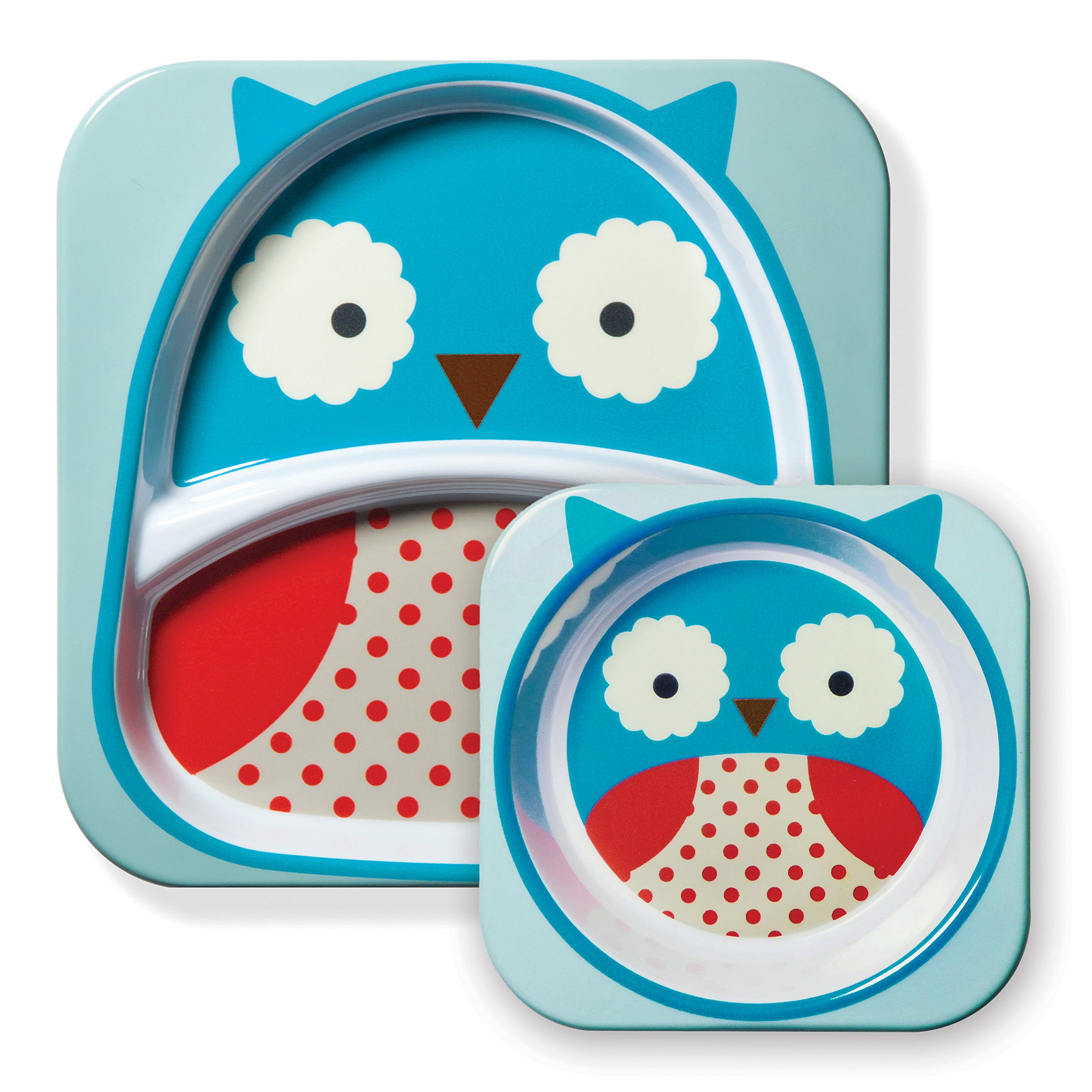 Skip Hop Baby Zoo Little Kid and Toddler Feeding Melamine Divided Plate and Bowl Mealtime Set, Multi Otis Owl