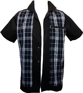 Rockabilly Fashions - Camisa casual - para hombre Black, Grey, Turquoise: Amazon.es: Ropa y accesorios