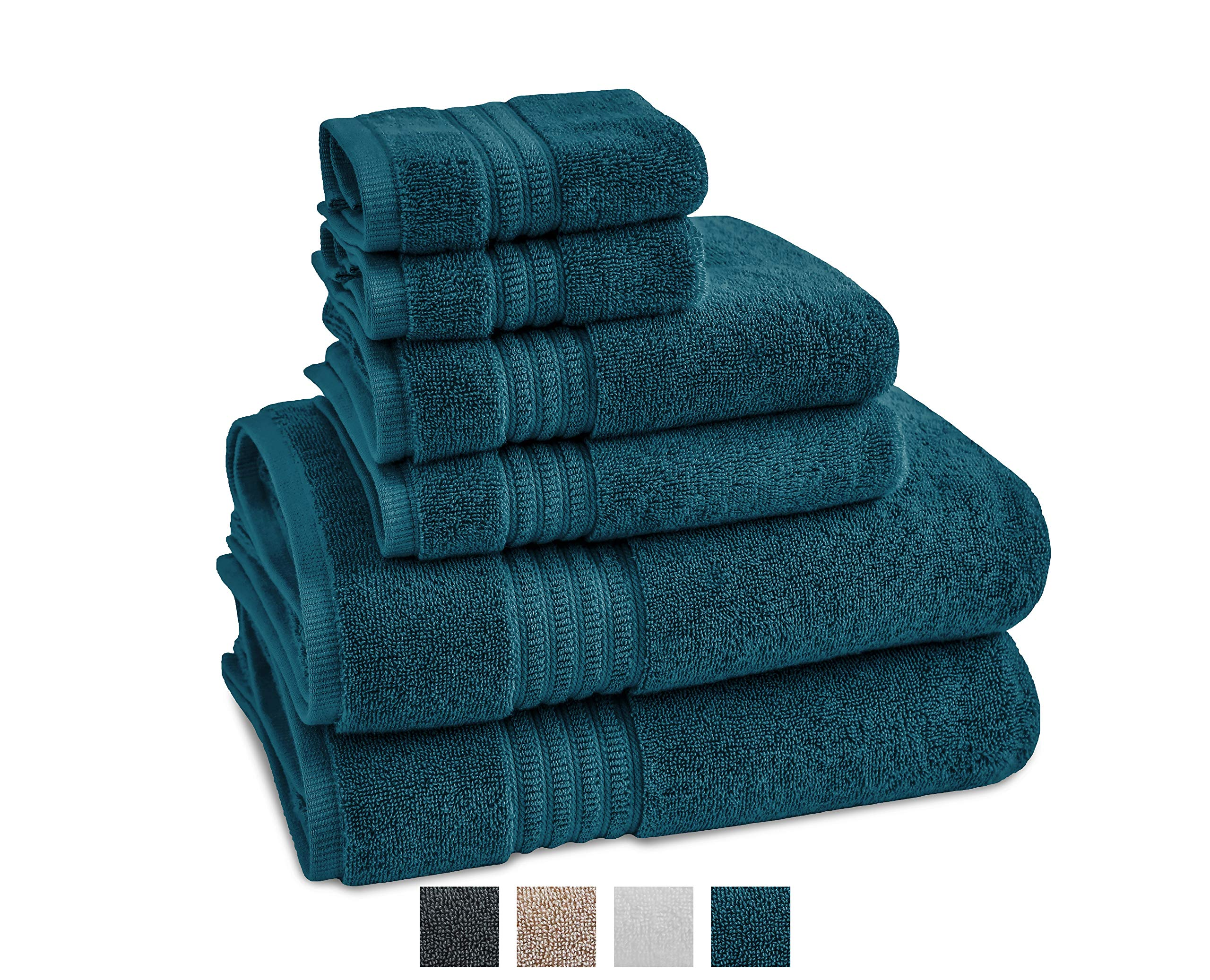 TRIDENT Large Bath Towels 100% Cotton, 6 Piece Set -2 Bath, 2 Hand, 2 Washcloths, Soft, Absorbent, Machine Washable, Air Rich Yarn, Soft Comfort Towels (Peacock)