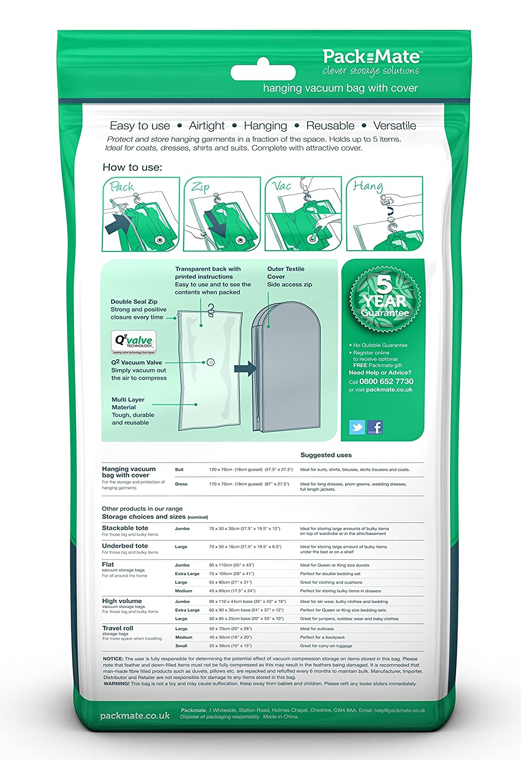 Dresses T Shirts /& More Coats Jackets Packmate /® Hanging Vacuum Storage Bags A Huge Space Saver Suitable For Suits