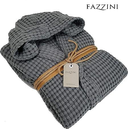 Fazzini - Albornoz para Hombre y Mujer, 100% algodón, con Capucha, Color 52 Plomo (Talla S).: Amazon.es: Hogar