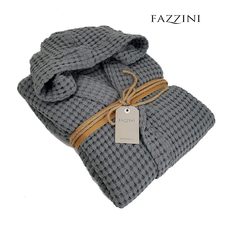 Taglia M Fazzini Accappatoio Uomo//Donna Cotone 100/% con Cappuccio NETTARE col 52 Piombo