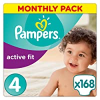 Pampers Active Fit 168 Nappies with Absorbing Channels, 8-16 kg, Size 4