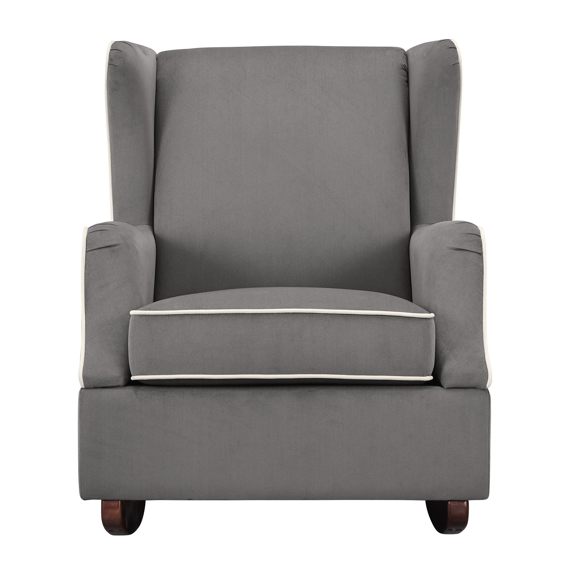 Baby Relax Hudson Upholstered Wingback Nursery Room Rocker, Graphite Gray Gray by Baby Relax