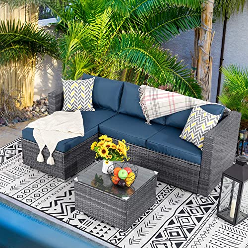 Walsunny 3 Piece Outdoor Furniture Sectional Sofa Patio Set