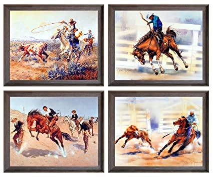 16x20 Vintage Western Rodeo Cowboy Horse Riding Wall Decor Art Print Poster