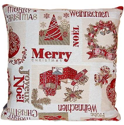 Hossner Kissen Gobelin Weihnachten Merry Christmas Landhaus Weihnachtskissen Kissenhülle 40x40 Cm
