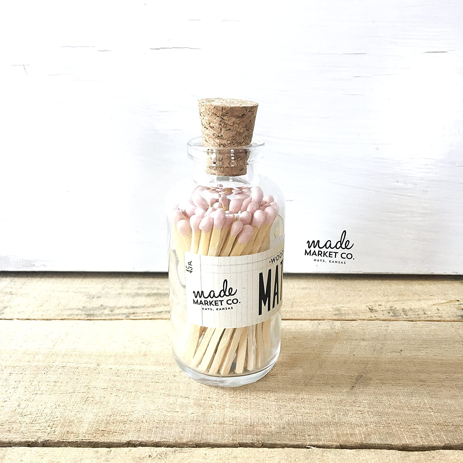 Unique Gifts for her Light Pink Tip Colored Matches Best Seller Most Popular Item Farmhouse Home Decor Match Sticks Mini Decorative Glass Bottle