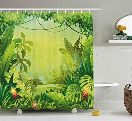 Ambesonne Nature Shower Curtain By Jungle With Red Flowers And Large Tropical Plants Foliage Woodland