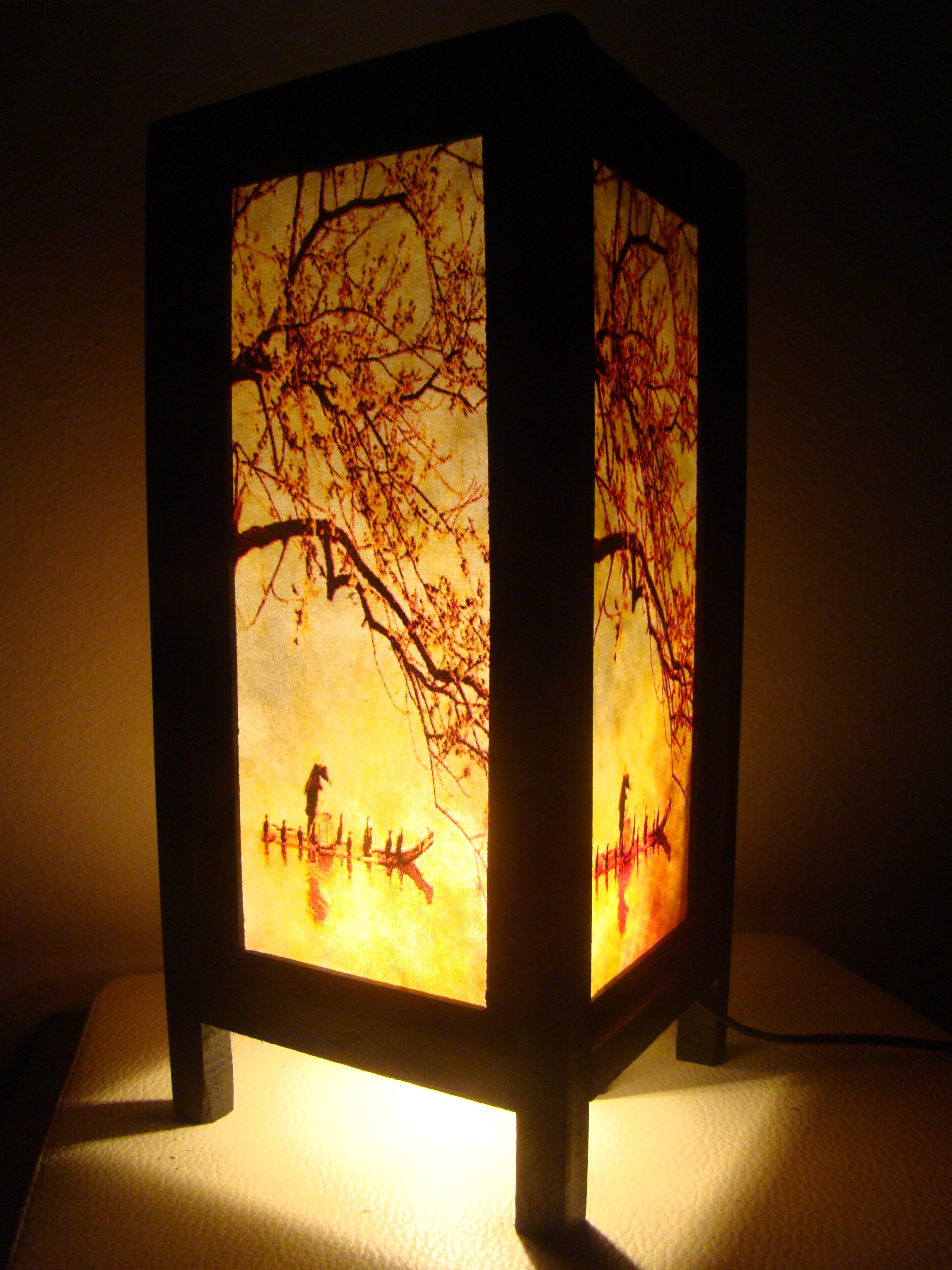 Thai Vintage Handmade Asian Oriental Handcraft China Fisherman Red Sakura Cherry Blossom Tree Branch Bedside Table Lights or Floor Wood Paper Lamp Home Decor Bedroom Decoration Modern Design from Thailand by Red berry Thailand Lanna Lamp