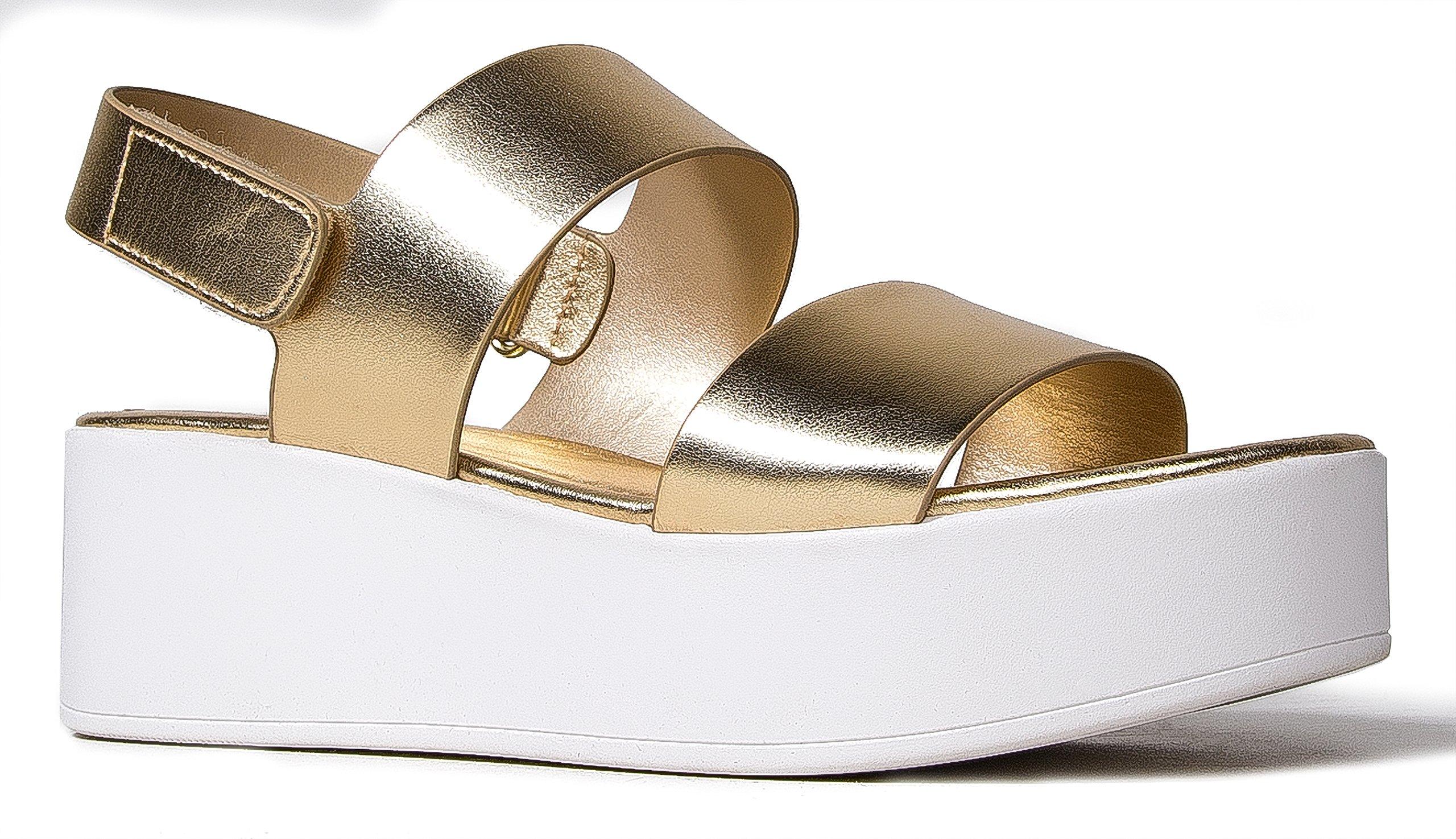 J. Adams Casey Platform Sandal – Comfortable Double Band Velcro Flatform Shoe