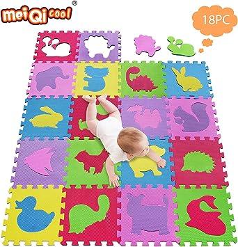meiqicool Alfombrillas para Puzzles   Alfombra Puzzle para Niños Bebe Infantil 18 Piezas Suelo de Goma EVA Suave 142 x 114cm 5354: Amazon.es: Juguetes y juegos