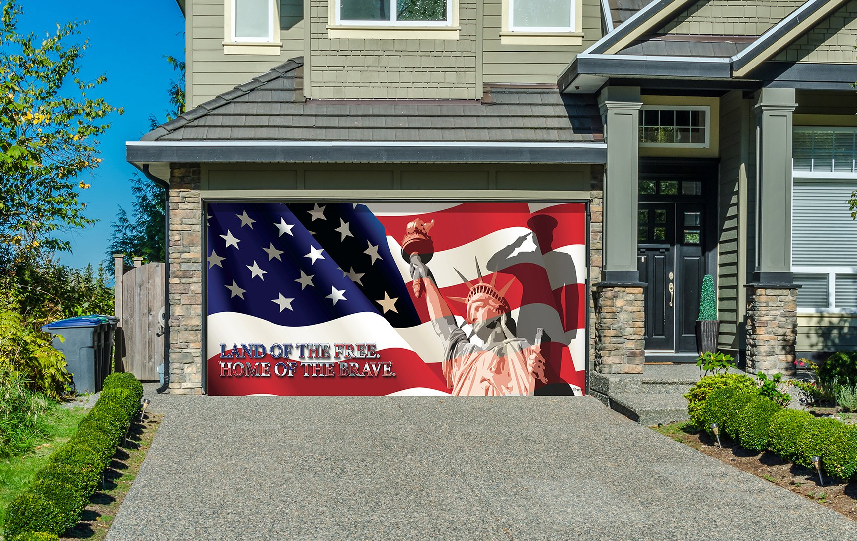 Outdoor Patriotic American Holiday Garage Door Banner Cover Mural Décoration 8'x16' - US Military Liberty - Outdoor Patriotic Garage Door Banner Décor Sign 8'x16'