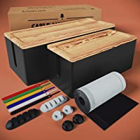 [Set of 2] Rustic Real Wood Cable Management Box Cord Organizer, Big + Small, Large Storage Holder for Desk, TV…