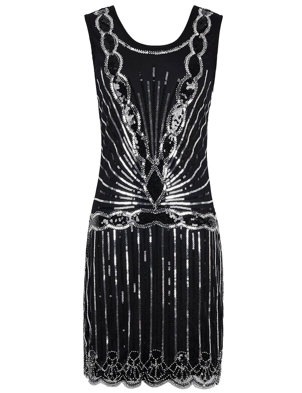Kayamiya Women's 1920S Sequined Beaded Back Deep V Gatsby Flapper Evening Dress