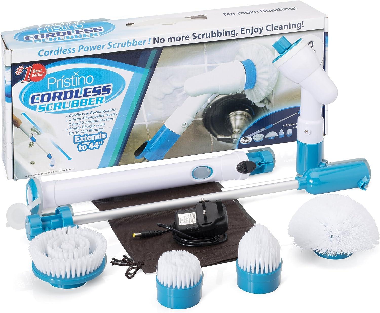 oven scrub en vloeren met uitschuifbare handgreep 4 borstelkoppen reinigen elk oppervlak opbergtas keuken terras duurt tot 2 uur wast badkamer Cordless Power Scrubber Brush Set oplaadbaar
