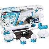 Set spazzola elettrica cordless con4testine per pulire qualsiasi superficie. Con custodia portaoggetti, ricaricabile, manico allungabile, dura fino a 2 ore, ideale per bagno, cucina, patio, forno e pavimenti