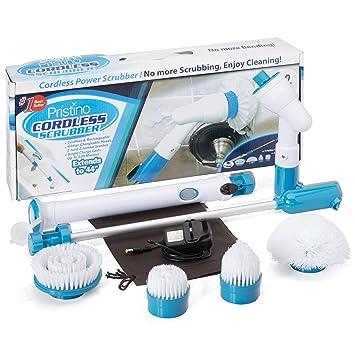 Inalámbrico de alimentación Scrubber Cepillo Set – 4 Cabezales De Cepillo Limpieza de Cualquier Superficie – Bolsa de almacenamiento, batería, mango ...